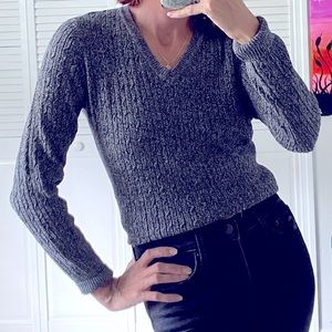 Kim Rogers Black & White V-Neck Knit Sweater